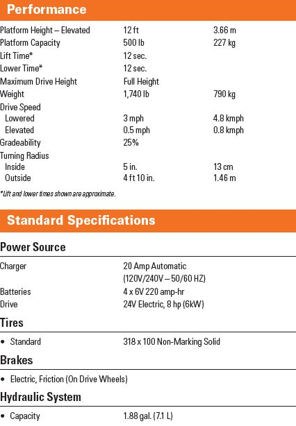 JLG 1230ES spec sheet image 2