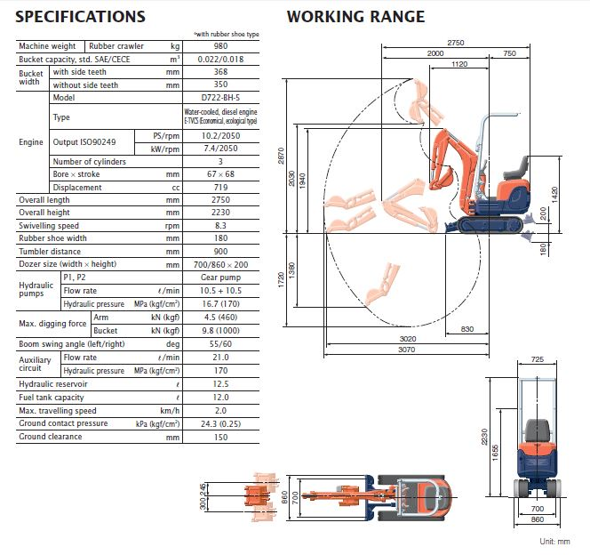 location kubota k008